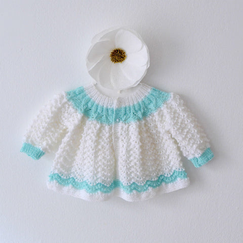 Hand Knit Baby Cardigan in Mint Stripe
