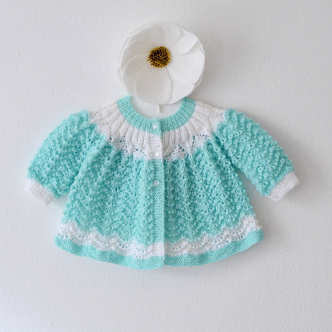 Hand Knit Baby Cardigan in Mint