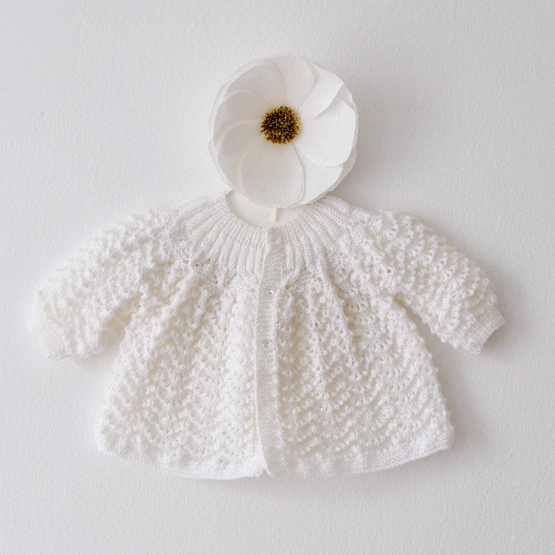 Hand Knit White Baby Sweater, Handmade Infant Cardigan, Christening and Baby Shower Gift, Born on Bowery