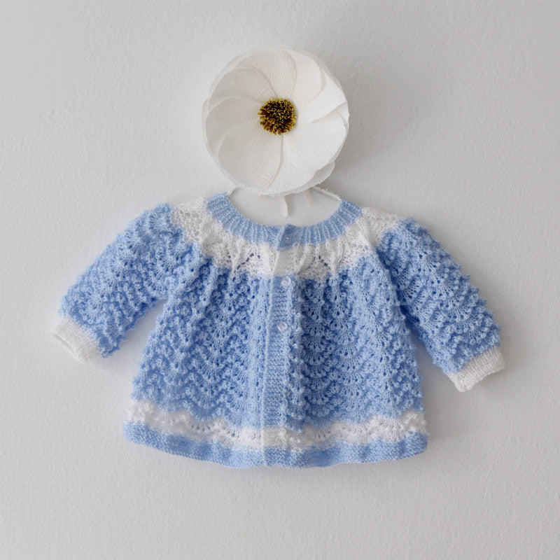 Hand Knitted Vintage Baby Sweater, Handmade Baby Cardigan, Born on Bowery