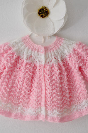 Hand Knit Baby Cardigan in Pink and White Stripe