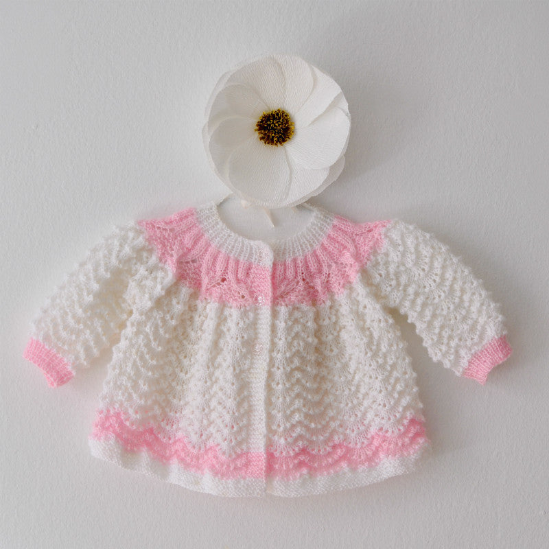Hand Knit Baby Cardigan, White Infant Sweater, Handmade Baby Shower Gift, Born on Bowery