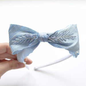 Dupioni Silk Headband in Ice Blue