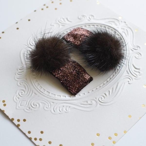 Velvet Fur Clips, Assorted Colors