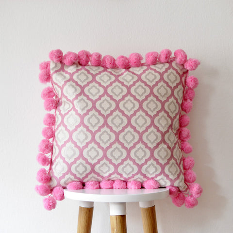 Moroccan Pillow Cover with Large Pink Pompoms