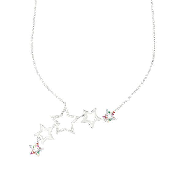Rosie Fortescue Silver Rainbow Star Cluster necklace