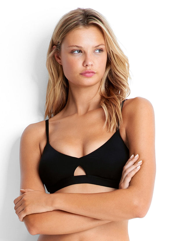 Seafolly Active Hybrid Bralette with Split Band Hipster pant in Black