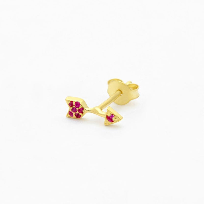 Wolf & Gypsy Pink Topaz Arrow Single Stud