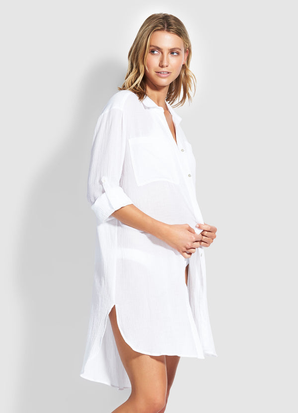 Seafolly Crinkle Twill Beach Shirt White