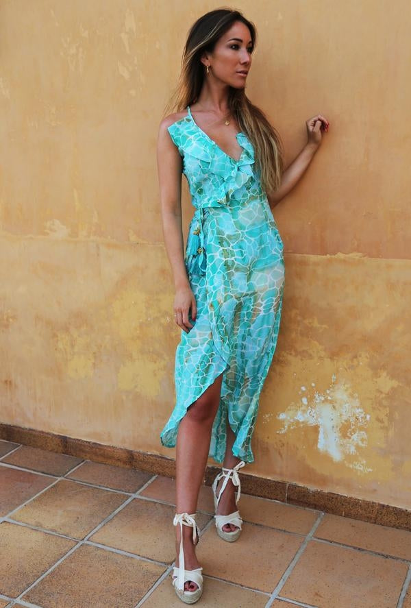Sophia Alexia Aqua Pebbles Cocktail Midi Dress