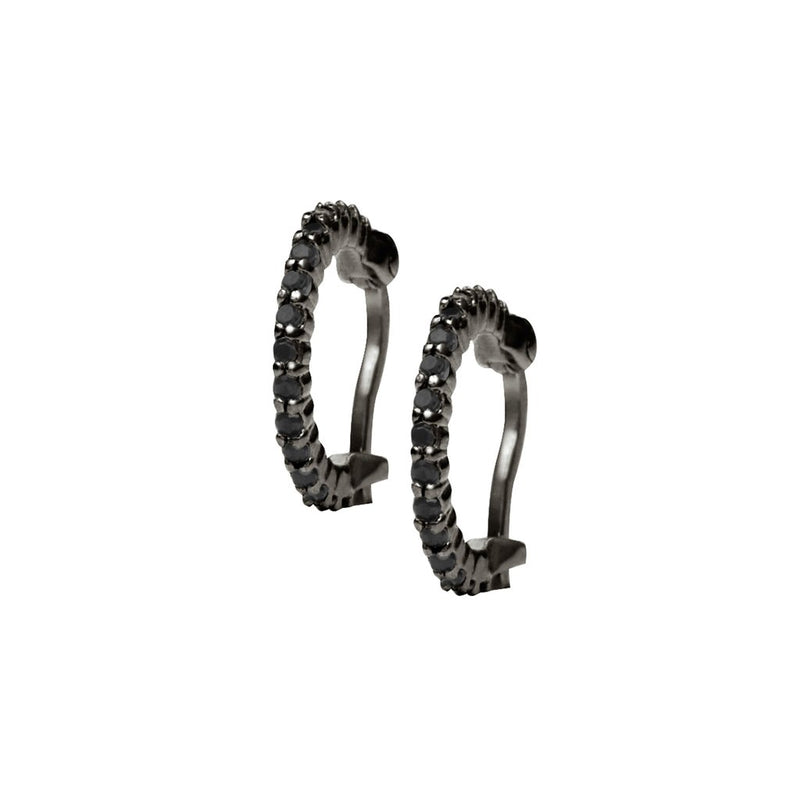 Rosie Fortescue Rhodium Huggy Hoops with Black Stones