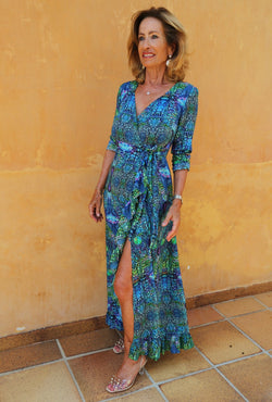 Sophia Alexia Ruffle Wrap Dress Blue Iguana - longer length