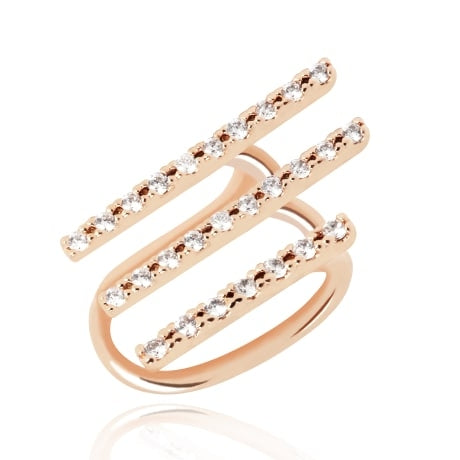 Astrid & Miyu Basic Crystal Armour Ear Cuff in Rose Gold
