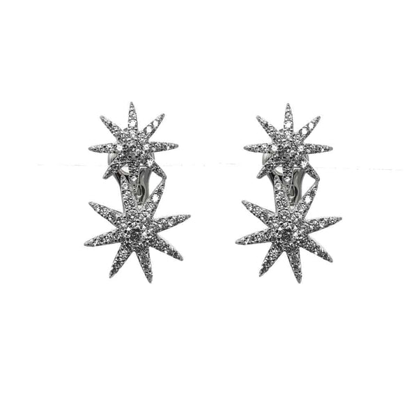 IcandiRocks Silver Twin Star Earrings