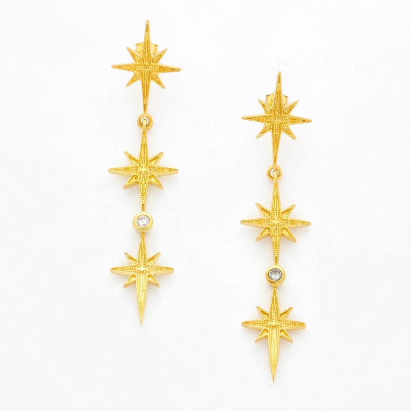 Wolf & Gypsy Triple Star Earrings