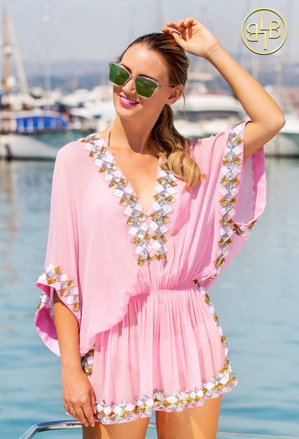 Lindsey Brown Pink Silk Designer Kaftan Top