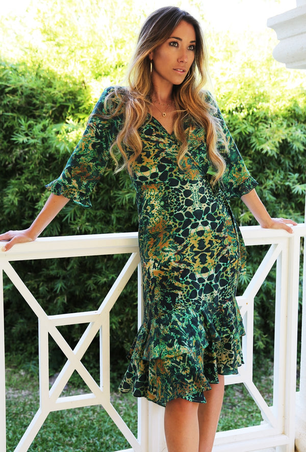 Sophia Alexia Emerald Leopard Midi wrap dress