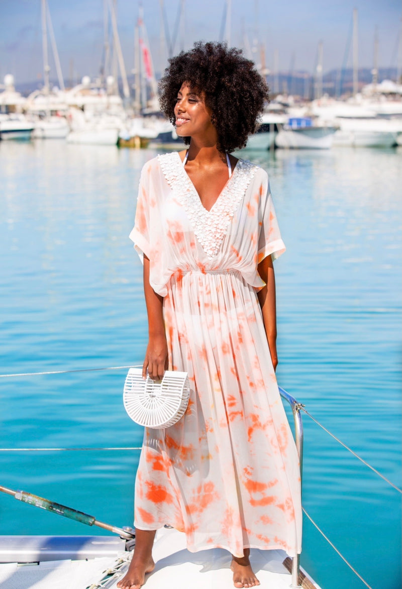 Lindsey Brown Rio Papaya Maxi Kaftan