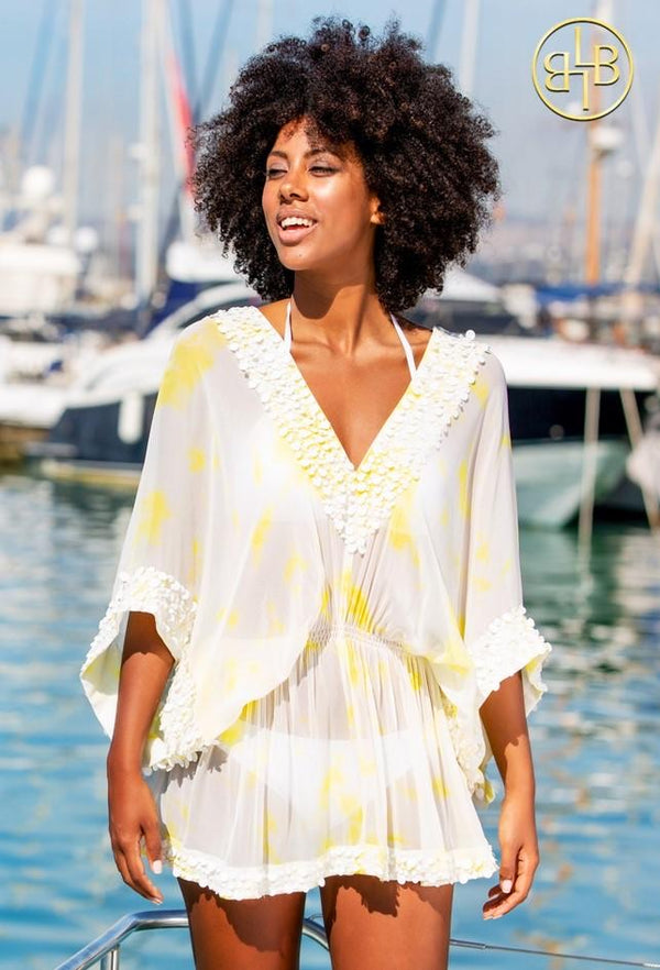 Lindsey Brown Silk Yellow & White Floaty Designer Kaftan Top