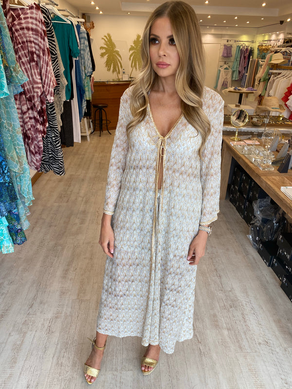 Missoni Gold, White and Silver Long Cover Up