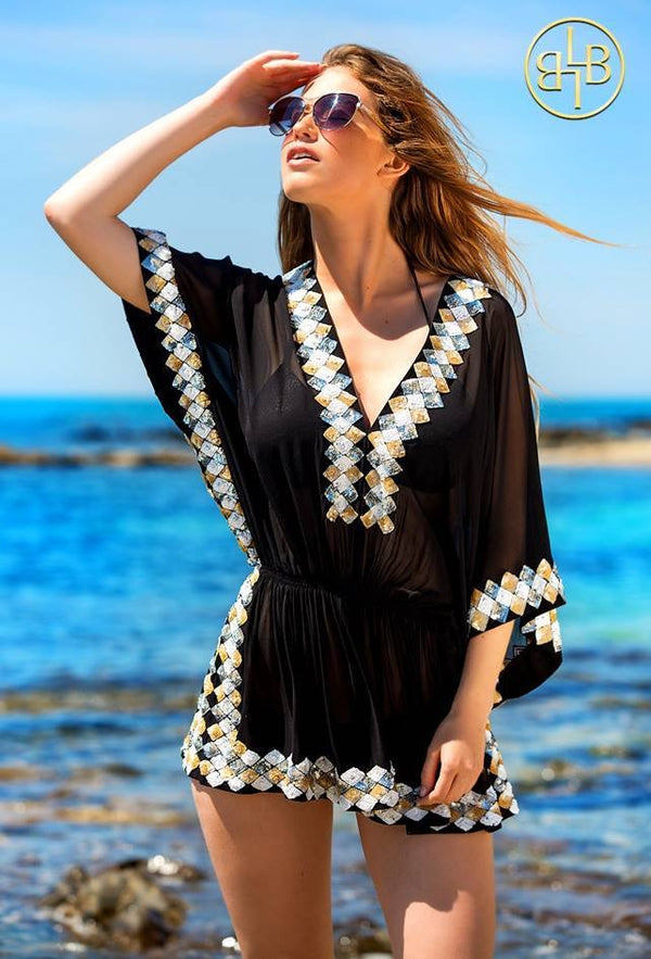 Lindsey Brown  Black Silk Designer Kaftan Top