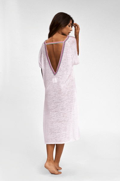 Pitusa V Back Dress White