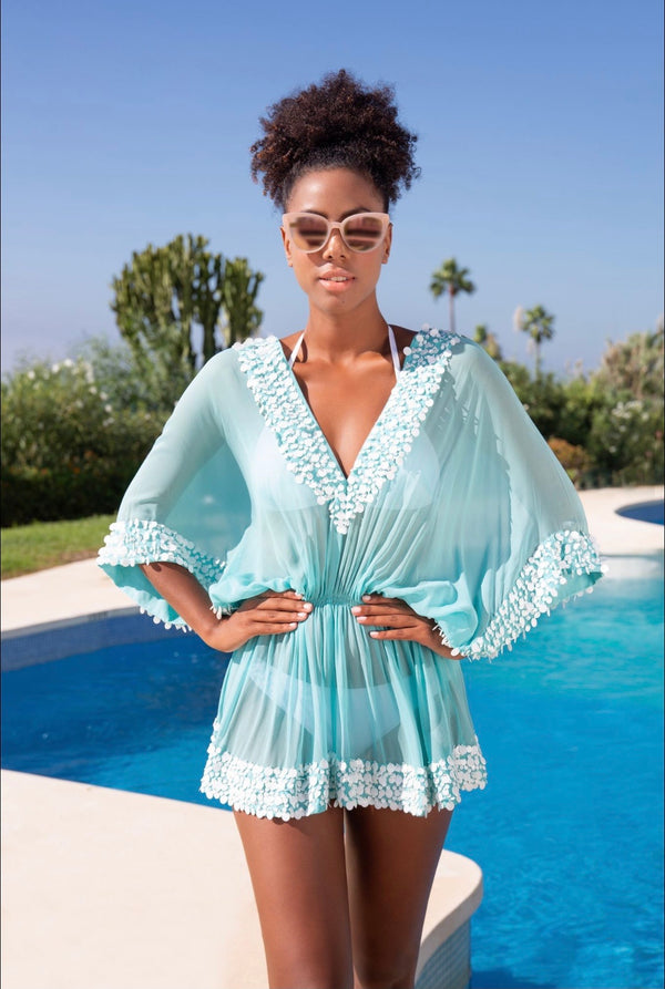 Lindsey Brown Sea Breeze  Silk Designer Kaftan Top