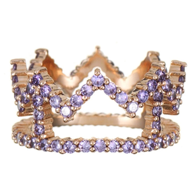 Rosie Fortescue Rose Gold Crown Ring with Lilac Stones-P