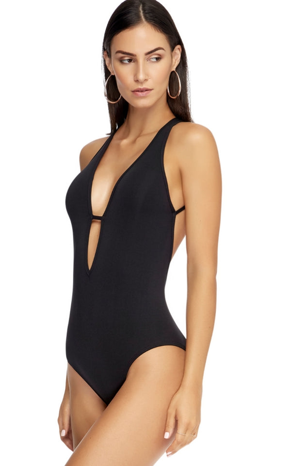 Jets Swimwear Plunge Spider Back One Piece