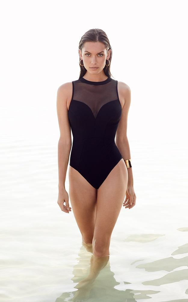 Jets Swimwear High Necked Black One-Piece