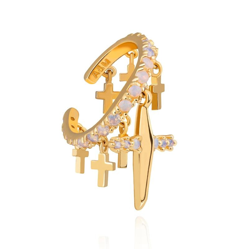 Astrid & Miyu Mystic Cross Ear Cuff in Gold