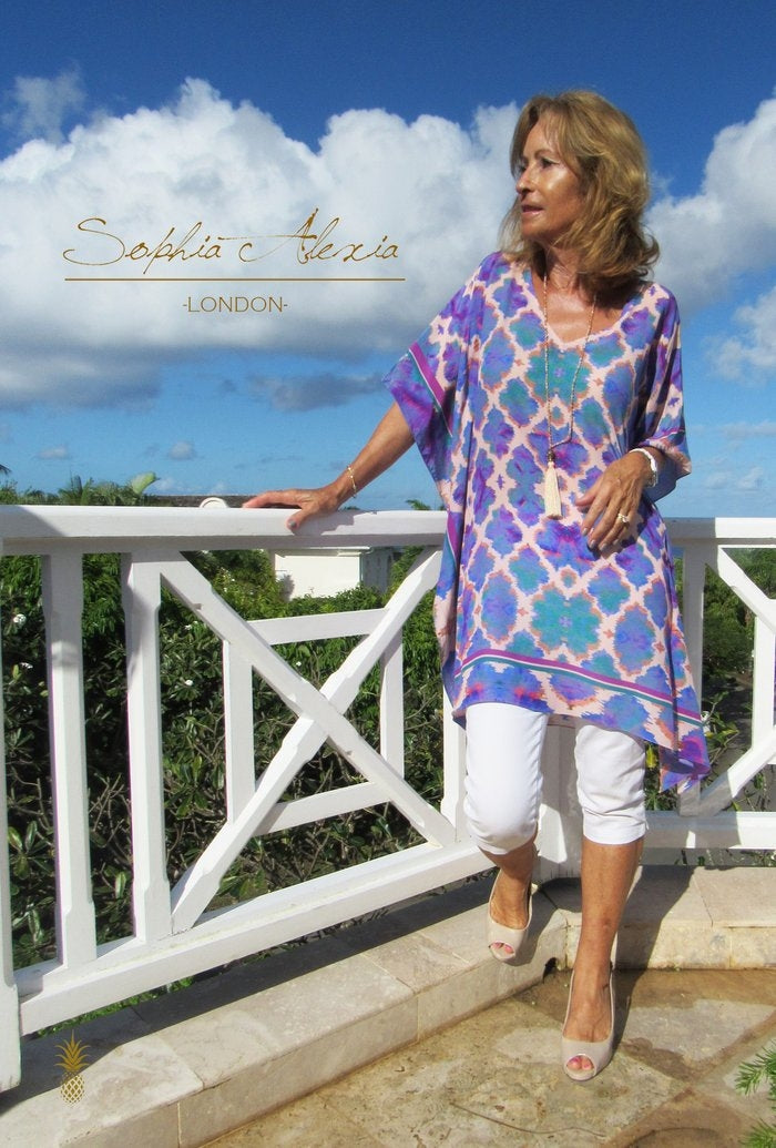 Sophia Alexia Orchid Paradise Silk Kaftan (longer length)
