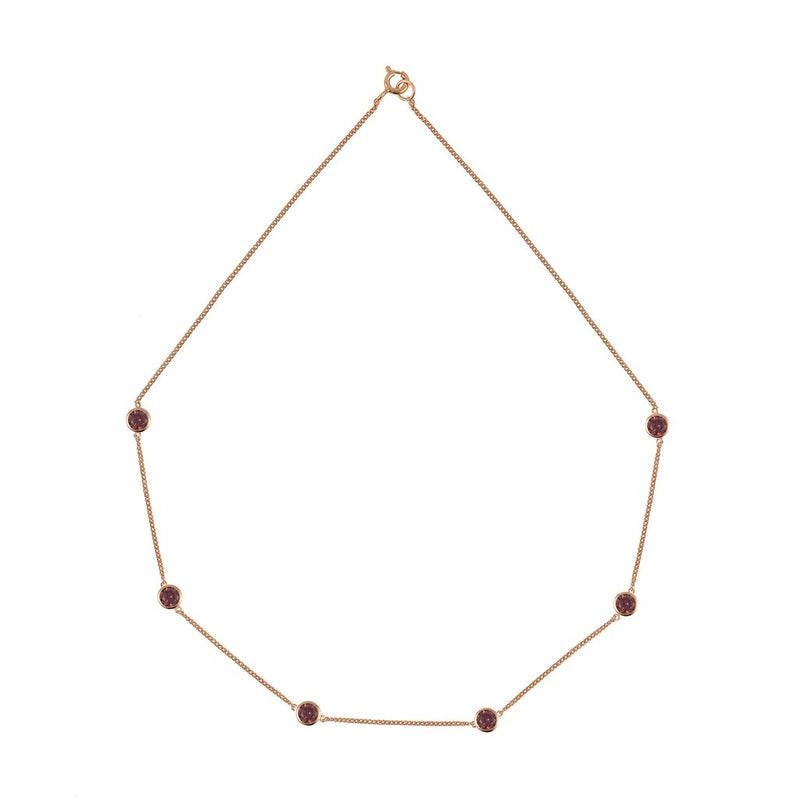Rosie Fortescue Rose Gold Tight Chain Necklace With Rhodolite Stones