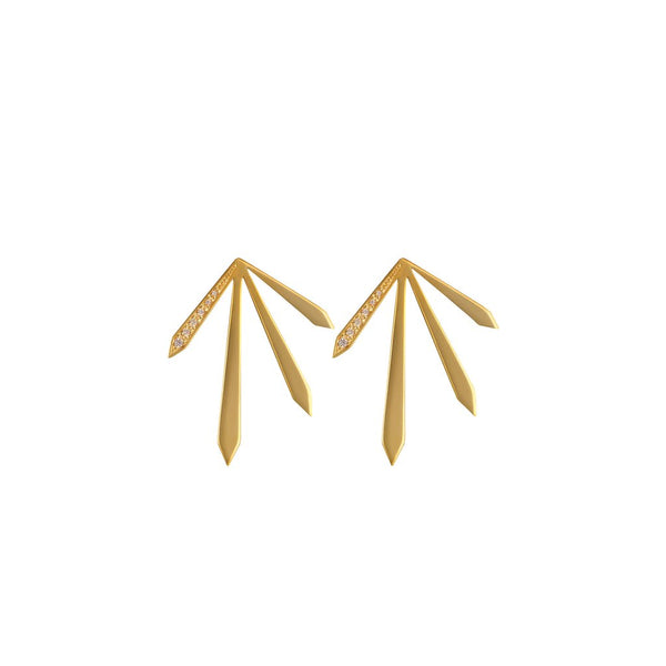 Rosie Fortescue Gold 4 Spike Stud Earrings with Champagne Stones