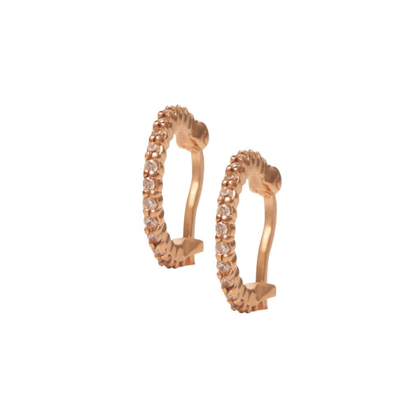 Rosie Fortescue Rose Gold Huggy Hoop Earrings with Champagne stones