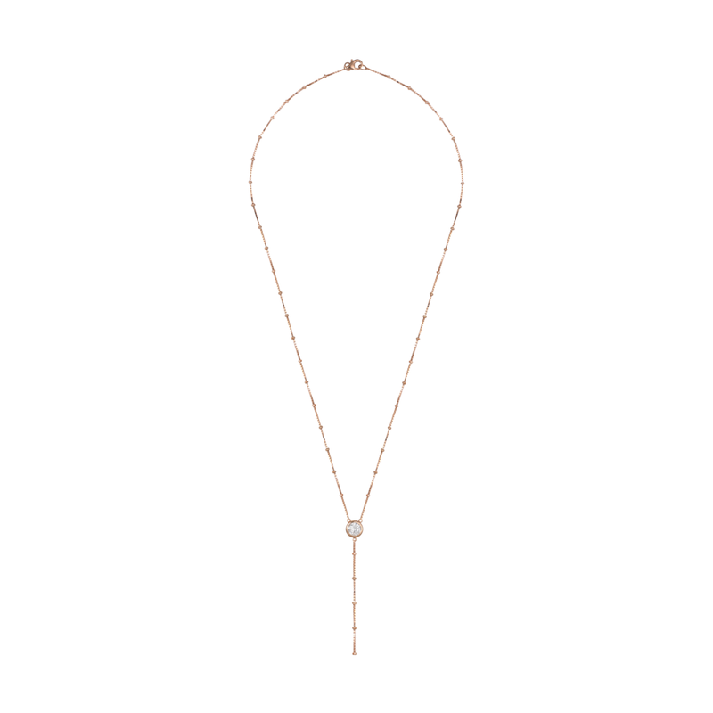 Rosie Fortescue Rose Gold Dot Chain Necklace With White Stones