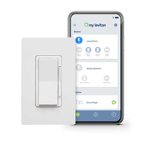 Leviton Decora Smart Wi-Fi 600W Universal LED / Incandescent Dimmer. Fonctionne avec Amazon Alexa et Google Assistant, aucun concentrateur requis.