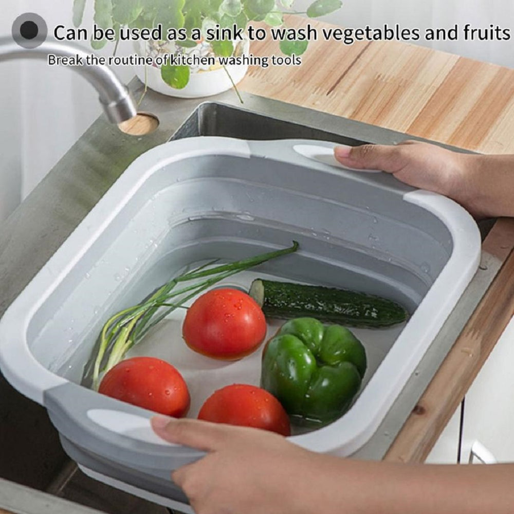 3 in 1 Foldable Cutting Board, Draining Fruit Basket & Washing Bowl