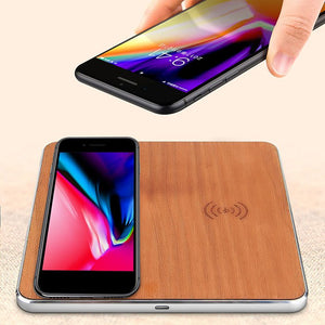Dual Wooden Fast Wireless Charger for iphone/samsung/Qi enabled Devices