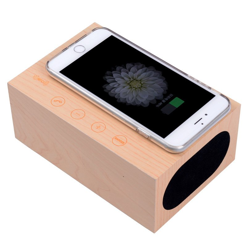 Wooden Wireless Charger Clock for iphone/samsung/Qi enabled Devices