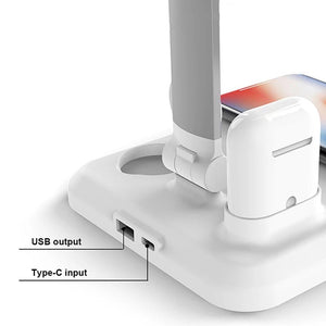 4-in-1 Wireless Charger with Lamp Functionality for iphone/samsung/Qi enabled Devices