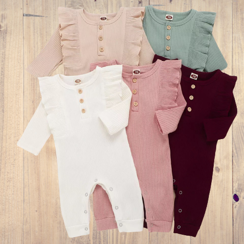 Frilly Baby Ribbed Romper Suit