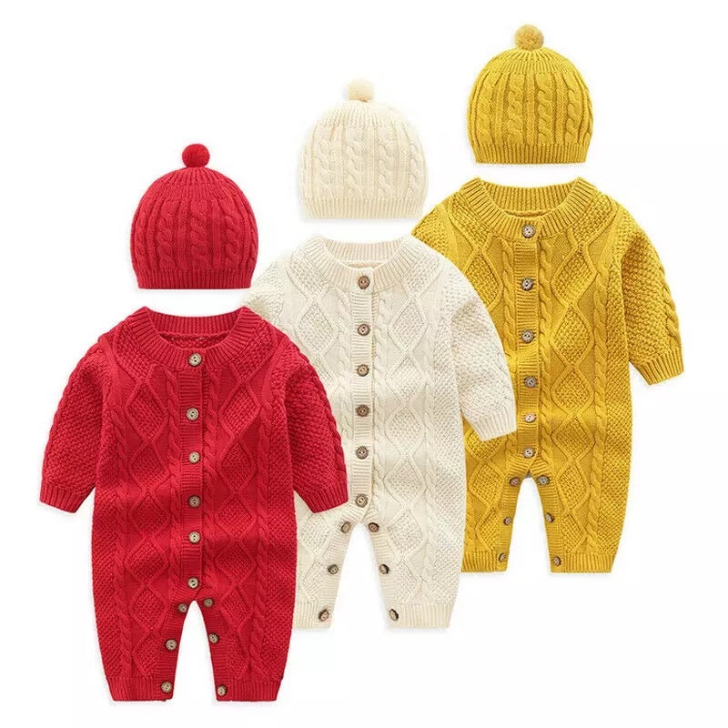 Baby Romper - Knitted All-in-one Romper with Hat