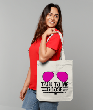 Tote Bag ''TALK TO ME GOOSE'' pink glasses