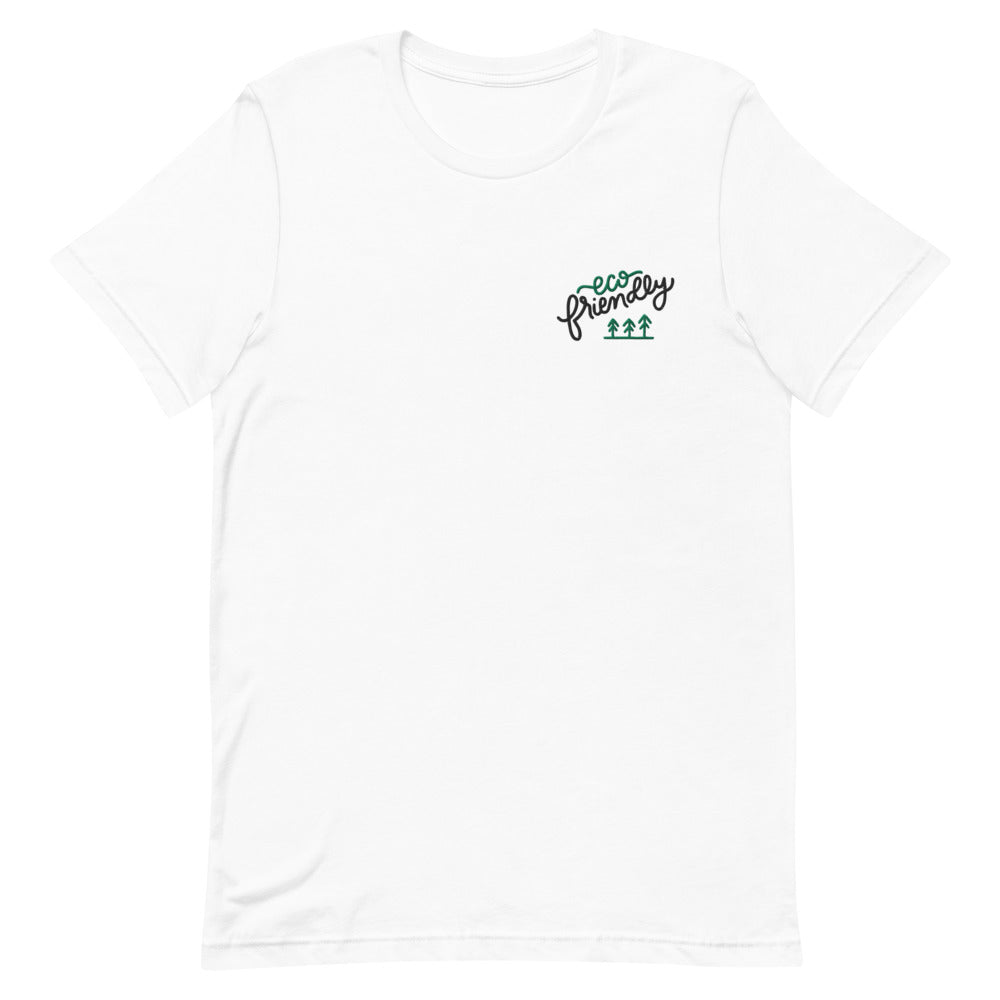 """Eco Friendly"" Hand Lettering Embroidered on a White Shirt 