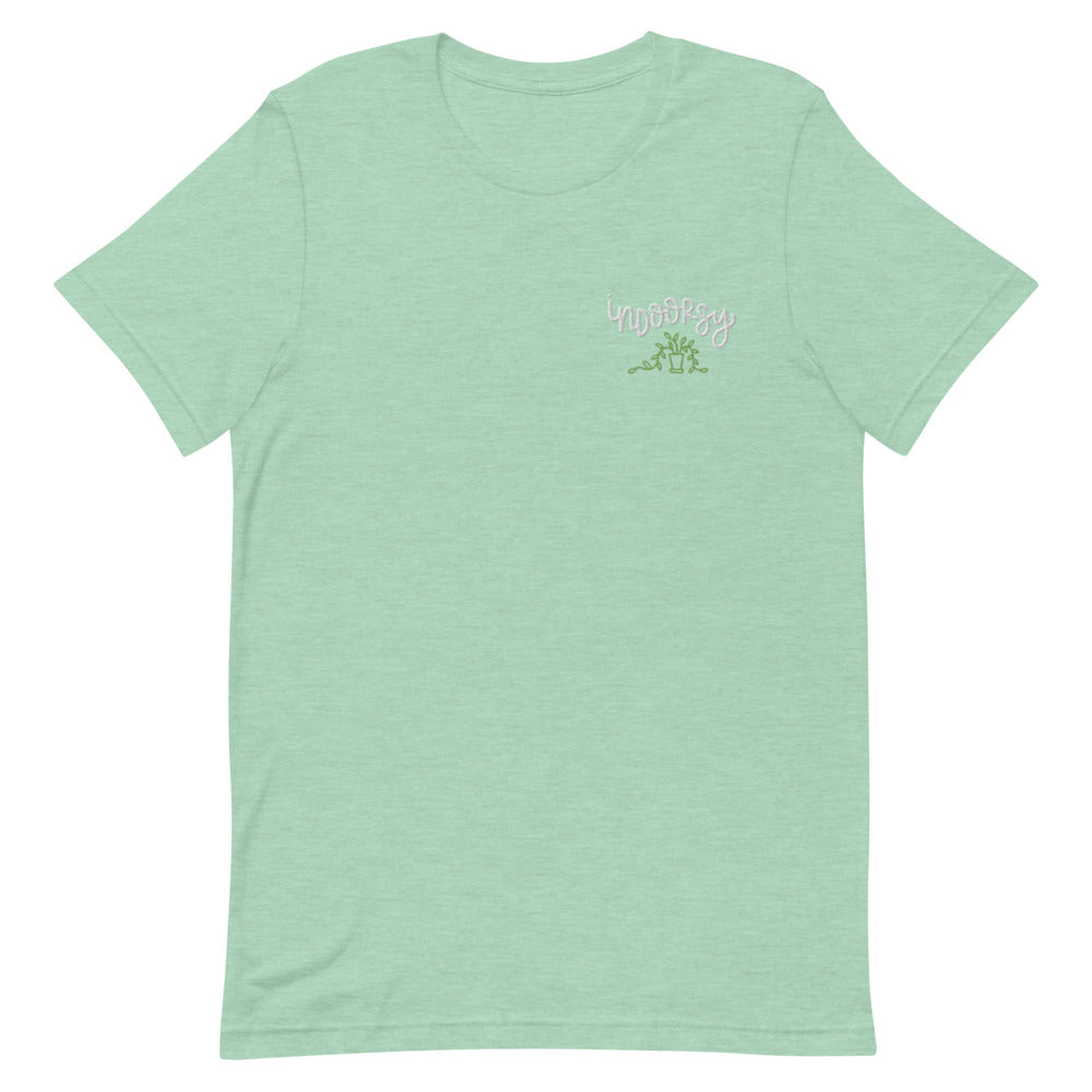 Indoorsy Shirt in Heather Mint - Some people like hiking boots and fresh air, others like slippers and an open window breeze. This shirt will let people know exactly which one you are! Perfect for people who'd rather hug their house plants than a tree.  Every design is hand-lettered by me and digitized for you to enjoy on your shirt for years to come!