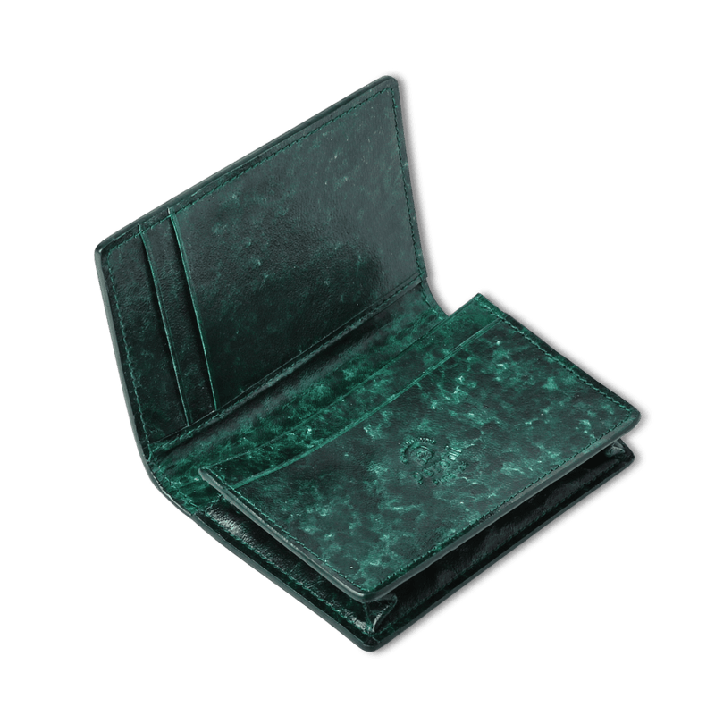 Green Antiqued Classic Card Holder Wallet - Exquisite Trimmings