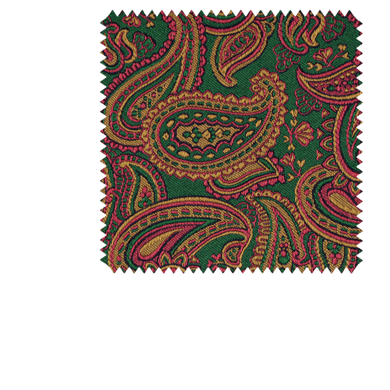 Bespoke Green Paisley Jacquard Silk Tie 125 - Exquisite Trimmings