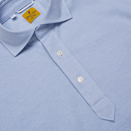 Light Blue Long Sleeve Cotton Polo Shirt