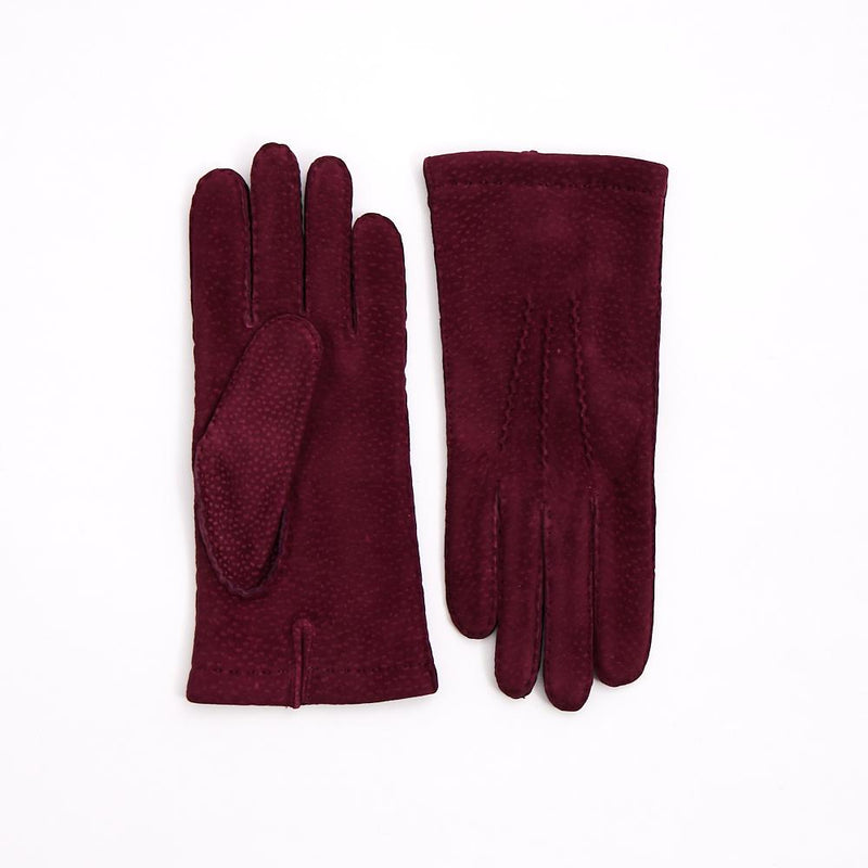 Burgundy Carpincho Hand-Stitched Gloves with Cashmere Lining - Exquisite Trimmings